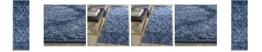 "Safavieh Retro Blue and Dark Blue 2'3"" x 7' Runner Area Rug"