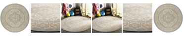 "Safavieh Linden Cream and Aqua 6'7"" x 6'7"" Round Area Rug"