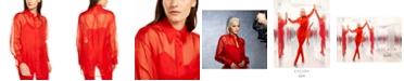 Escada Rita Ora Silk Semi-Sheer Blouse