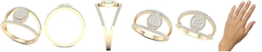 Macy's Diamond Oval Cluster Openwork Statement Ring (1/2 ct. t.w.) in 10k Gold