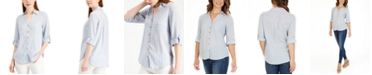 BCX Juniors' Striped Button-Front Shirt