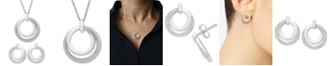 Macy's 2-Pc. Set Diamond Double Circle Pendant Necklace & Drop Earrings (1/6 ct. t.w.) in Sterling Silver