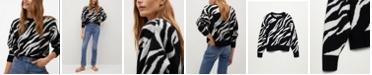 MANGO Women's Zebra Printed Sweater