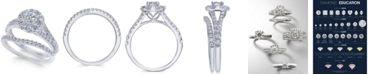 Macy's Diamond Cluster Bridal Set (1-1/2 ct. t.w.) in 14k White Gold