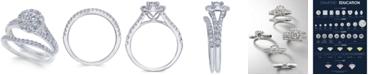 Macy's Diamond Cluster Bridal Set (1-1/2 ct. t.w.) in 14k White Gold