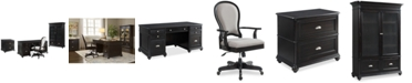 Furniture Clinton Hill Ebony Home Office Furniture Set, 4-Pc. Set (Executive Desk, Lateral File Cabinet, Door Bookcase & Upholstered Desk Chair), Created for Macy's