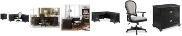 Furniture Clinton Hill Ebony Home Office Furniture Set, 3-Pc. Set (L-Shaped Desk, Lateral File Cabinet & Upholstered Desk Chair), Created for Macy's