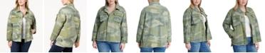 Levi's Trendy Plus Size  Cotton Camo-Print High-Low Hem Jacket