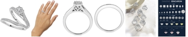 Macy's Diamond Halo & Pavé Bridal Set (1/2 ct. t.w.) in 14k White Gold