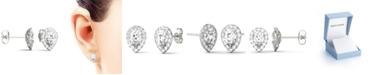 Charles & Colvard Moissanite Pear Halo Earrings (2 ct. tw. Diamond Equivalent) in 14k White Gold