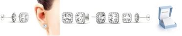 Charles & Colvard Moissanite Asscher Halo Earrings (3 ct. tw. Diamond Equivalent) in 14k White Gold