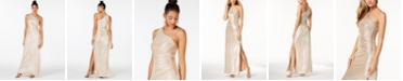 Calvin Klein One-Shoulder Metallic Gown
