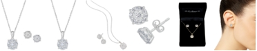 """Macy's 2-Pc. Diamond (1 ct. t.w.) Halo 18"""" Pendant Necklace & Matching Stud Earring Set in 14k White or Yellow Gold"""