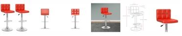 CorLiving Mid Back Square Panel Adjustable Barstool in Leatherette, Set of 2