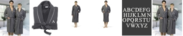 Linum Home Personalized 100% Turkish Cotton Waffle Terry Bathrobe with Satin Piped Trim - Dark Gray