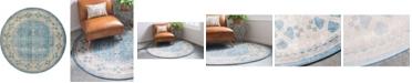 """Bridgeport Home Bellmere Bel1 Light Blue 7' 3"""" x 7' 3"""" Round Area Rug"""