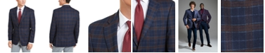 Tommy Hilfiger Men's Modern-Fit Stretch Navy/Burgundy Plaid Sport Coat