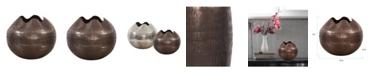 Howard Elliott Textured Deep Copper Aluminum Pinched Top Globe Vase, Small