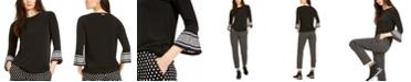 Michael Kors Mod Dot Flared-Sleeve Top, Regular & Petite Sizes