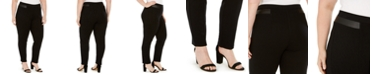 JM Collection Plus Size Faux-Leather-Trim Pants, Created for Macy's