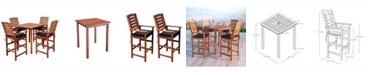 Corliving Distribution Miramar 5 Piece Hardwood Outdoor Bar Height Bistro Set