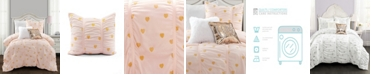 Lush Decor Metallic Heart Print 2-Piece Twin XL Comforter Set