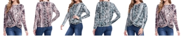 Fever Long Sleeve Print Knot Top