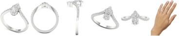 Macy's Diamond Cluster Chevron Statement Ring (1 ct. t.w.) in 14k White Gold