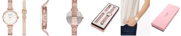 kate spade new york Women's Metro Floral Rose Gold-Tone Stainless Steel Mesh Bracelet Watch 34mm Gift Set