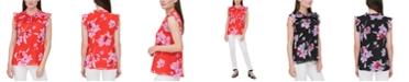 Calvin Klein Printed Pleated-Yoke Flutter-Sleeve Top