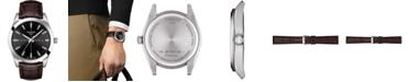 Tissot Men's Swiss Gentleman Brown Leather Strap Watch 40mm