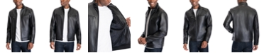 Michael Kors Men's Perforated Faux Leather Moto Jacket, Created for Macy's