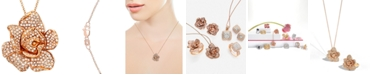 EFFY Collection Pavé Rose by EFFY® Diamond Flower Pendant Necklace in 14k Rose Gold (1 1/3 ct. t.w.)