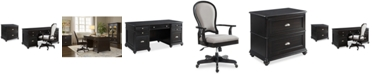 Furniture Clinton Hill Ebony Home Office Furniture Set, 3-Pc. Set (Executive Desk, Lateral File Cabinet & Upholstered Desk Chair), Created for Macy's