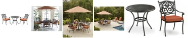 "Furniture Chateau Outdoor Cast Aluminum 3-Pc. Dining Set (32"" Round Cafe Table and 2 Dining Chairs), Created for Macy's"