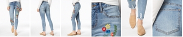 Earl Jeans Colorful Embroidered Ankle Skinny Jeans