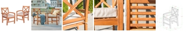 Walker Edison X-Back Acacia Patio Chairs with Cushions (Set of 2)