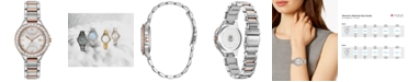 Citizen Eco-Drive Women's Silhouette Crystal Two-Tone Stainless Steel Bracelet Watch 31mm