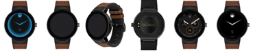 Movado Men's  Connected Black Silicone & Cognac Leather Strap Smart Watch 46.5mm