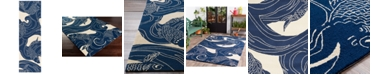 "Surya Rain RAI-1238 Dark Blue 2'6"" x 8' Runner Area Rug, Indoor/Outdoor"