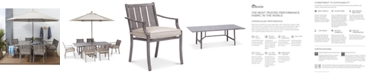 """Furniture Wayland Outdoor Aluminum 7-Pc. Dining Set (84"""" x 42"""" Rectangle Dining Table & 6 Dining Chairs) with Sunbrella® Cushions, Created for Macy's"""