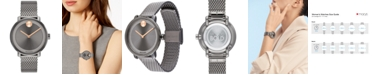Movado Women's Swiss BOLD Gray Stainless Steel Mesh Bracelet Watch 34mm
