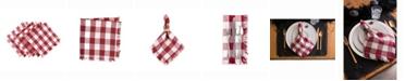 Design Imports Wine Heavyweight Check Fringed Napkin Set of 6