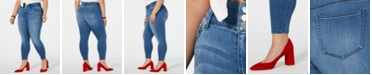 Celebrity Pink Trendy Plus Size Mid-Rise Cropped Skinny Ankle Jeans