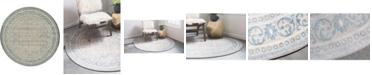 """Bridgeport Home Bellmere Bel4 Gray 7' 3"""" x 7' 3"""" Round Area Rug"""