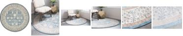 Bridgeport Home Bellmere Bel3 Light Blue 5' x 5' Round Area Rug
