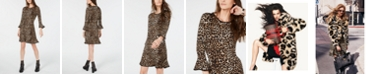Michael Kors Leopard Print Bell-Sleeve Dress