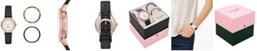 kate spade new york Women's Morningside Black Leather Strap Watch 34mm Box Set