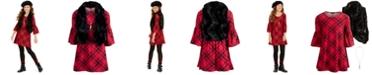 Sequin Hearts Big Girls 3-Pc. Faux-Fur Vest, Plaid Dress & Necklace Set