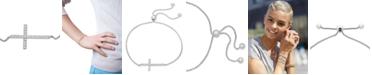 Wrapped Diamond Sideways Cross Bolo Bracelet (1/6 ct. t.w.) in 14k White Gold, Created for Macy's